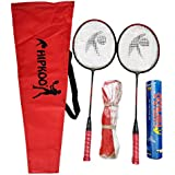 Hipkoo Sports HXBRSET_RDXSCOCKXNET Aluminum Full Badminton Kit (2 Racket, Pack of 10 Shuttlecocks and Net) Badminton Kit (Multicolour)