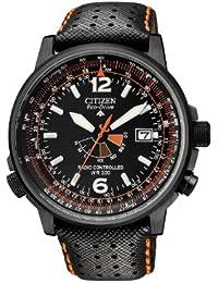 Citizen Promaster Sky AS2025-09E - Reloj cronógrafo de cuarzo para hombre, correa de cuero color negro