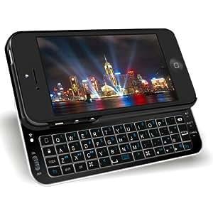 Etui noire pour Apple Iphone 5 avec un clavier coulissant Bluetooth(QWERTY) - Clavier UK(anglais) par BDM