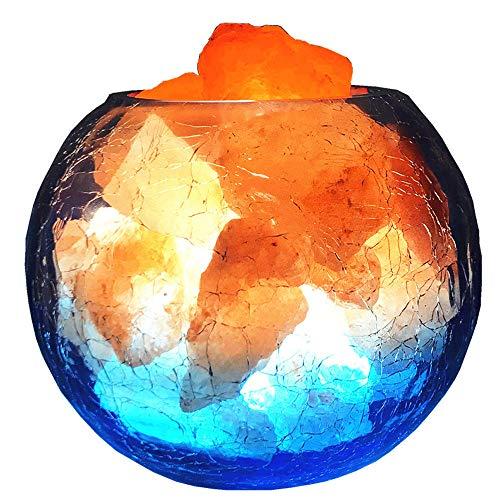 Pang Hu Crystal Rock Salt LAMP, natürliche rosa Himalaya-Salzlampe, mit Dimmer und Glasflasche zur Luftreinigung, Beleuchtung und Dekoration (Crystal Grünen Amethyst)