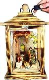 Große KLG-MFOS-GEFLAMMT Holzlaterne, Weihnachtskrippe MIT KRIPPENFIGUREN,Figuren, mit Beleuchtung 220V, Laterne aus Holz - Deko aus Holz gebrannt geflammt schwarz-natur Deko Glasvitrine, mit Glasscheibe (4 Scheiben Echtglas)