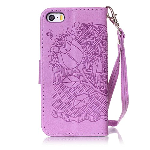 Cover iPhone SE, Custodia per Apple iPhone 5/5S, ISAKEN Custodia Fiore e Ragazza Design PU Pelle Book Folding Case Glitter Bling Cover, Supporto Stand e Porta Carte Integrati Portafoglio Flip Cover co rose:viola
