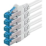7,5m - blanco - 5 piezas - CAT6 Ethernet LAN cable de red SET   10 / 100 / 1000 / 10000 / Mbit / s   cable patch   CAT6   S-FTP   Doble blindado   PIMF   250MHz   halógenos   compatible con CAT 5 / CAT 6a / CAT 7   para switch, router, módem, Patchpannel, punto de acceso