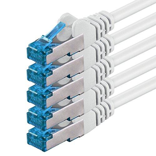 1aTTack.de 0,5m - CAT6a - Netzwerkkabel weiss - 5 Stück CAT 6 A Patchkabel 10000Mbit/s (S/FTP PIMF) 500 MHz kompatibel zu CAT5 CAT6 CAT7 DSL Internet Switch Router