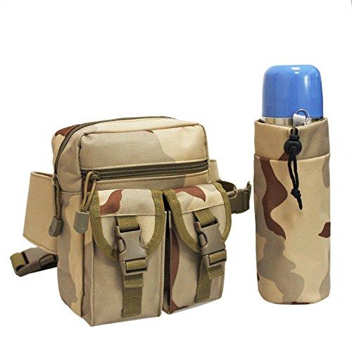 MOLLE TACTICAL Taille Pack Beutel mit Wasser Flasche Tasche Halter Wasserdicht MOLLE Fanny Hip Gürteltasche Sandy Camouflage