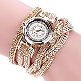 ESAILQ Duoya Markenuhren Frauen Luxus Kristall Frauen Gold Armband Quarz Armbanduhr Rhinestone Uhr Damen Kleider Geschenk Uhren (Gold)