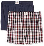 TOM TAILOR Underwear Herren Boxershorts Web-Shorts 2er Pack, 2er Pack, Blau (red-medium-Check 424), Large (Herstellergröße:L/6)
