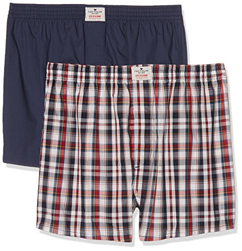 TOM TAILOR Underwear Herren Boxershorts Web-Shorts 2er Pack, 2er Pack, Blau (Red-Medium-Check 424), Small (Herstellergröße:S/4)