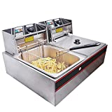 #4: andrew james Double Deep fat Fryer 6+6 Liters Commercial Stainless Steel