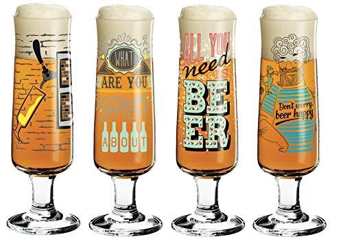 RITZENHOFF - Set di 4 Bicchieri da Birra con Panno in Vetro, Shinobu Ito, Frank Keller, Potts, Natalia Yablunovska, Collezione Primavera 2019
