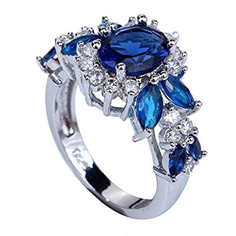 YAZILIND Elegant Royal Crystal Flower Topaz Rings Wedding Jewelry For Women Size6