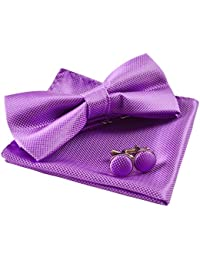 Solid Pre-tied Bow Tie Cufflinks Hanky Set for Men Neck Wear, Purple