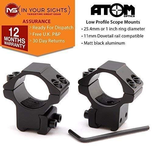 Atom Optics Lunette de Visée Convient 9.5-11mm Queue D'Aronde Rail 25 ou 30mm Anneaux / Haut ou Perfil Bas (Perfil Bas Queue D'Aronde Support (25mm))