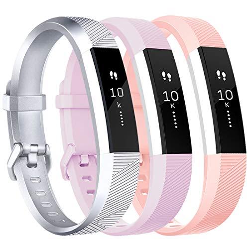 Tobfit Armband für Fitbit Alta HR Armband, Alta Armband Verstellbar Weich Ersatz Armbänder für Fitbit Alta HR und Fitbit Alta (Keine Uhr) (3-Pack Rosa+Lavendel+Silber, Kleine)