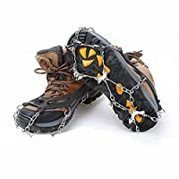 PULNDA Crampons- 10 Teeth Claws Non-slip Shoes Cover Stainless Steel Chain for Hiking Climbing and Outdoor. (Black)
