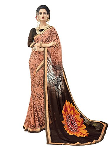 EthnicJunction Floral Abstract Printed Georgette Saree With Linen Brocade Blouse Piece(EJ1177-6015,Dark Salmon)