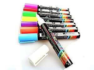 Fluotab® Kit de 8 Marqueurs à craie liquide Fluorescent effaçable/Feutre magique multi-couleurs pour les tableaux/ardoises/Miroir/Verre/Métal- Grand contenu: SATISFAIT OU REMBOURSÉ - 60 JOURS DE GARANTIE-Pointe 6MM