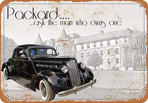WallAdorn 1937 Packard Ask The Man Who Owns One Iron Poster Painting Tin Sign Vintage Wall Decor for Cafe Bar Pub Home