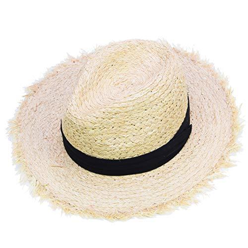 Sandy Ting Basthut Cowboyhut Classic Fedora Strohhut Jazz Cap Sommer Strandhut Caps Beige