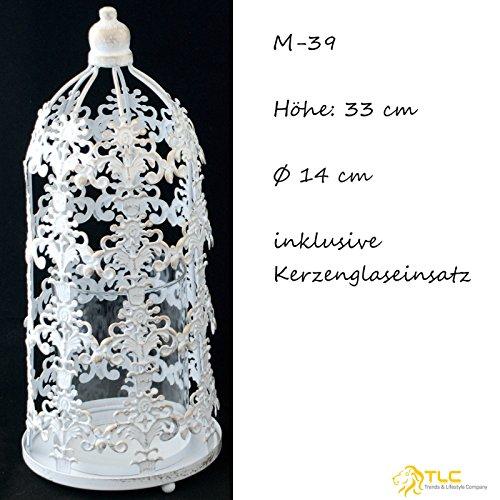 TLC Windlicht Glas, 33cm 27cm 21cm, Metall weiß Gold gebrushed, chabby chic, Vintage NEU M-39 (H=33cm Ø 14cm)