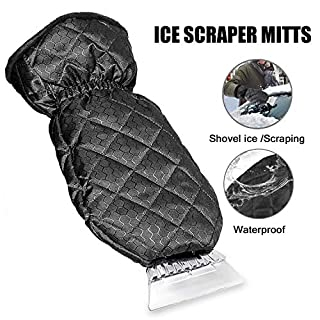 Ice Scraper for Car, Ice Scraper with Glove Heavy-duty Frost & Snow Removal for Car Windshield and Window, Warming Soft Lined Mitt with Closing Elastic Wristband