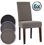 Bellboni Stuhlhussen, strapazierfähige, hochwertige Stuhlbezüge aus starkem Stoff, Stuhlüberzüge, Hussen passend für viele Stuhlgrößen elastisch, bi-elastic, 6 Pack, elastic grey / grau