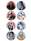 16 Mini disques en Sucre Star Wars 3,4 cm