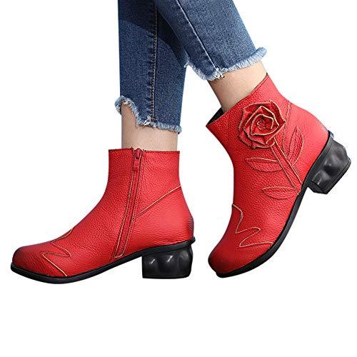 Geili Stiefeletten Damen mit Halbhohe Blockabsatz Kurzschaft Lederstiefel Retro Ethnisch Handgenäht Blumen Rose Ankle Boots Frauen Übergrößen Reißverschluss Chelsea Boots Keilstiefel