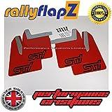 rallyflapZ Guardabarros para SUBARU IMPREZA New Age (Blobeye/Bugeye/Hawkeye) 2001-2007 Rojo STi estilo Logo Negro (4mm PVC) Incluyendo todos los Fijaciones & Acero Inoxidable Soportes