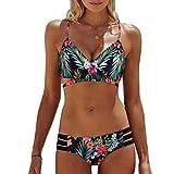 Ba Zha Hei Frauen Böhmen Push-Up gepolsterte BH Beach Bikini Set Badeanzug Bademode bandage Tankini Beachwer High Waist Hohe Taille Shorts Oberteil Tops und Bottoms Set (Grün, XL)