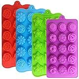 YuCool - Set di 4 stampi a forma di fiore per cioccolatini e caramelle, in silicone, con 15 cavità, per matrimoni, feste, fai da te, colore: verde, blu, rosso e viola