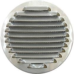 Rejilla de ventilación de aluminio circular, Ø 15 cm (150 mm), rejilla de ventilación de aluminio circular 15 cm (150 mm), redondo rejilla de ventilación de aluminio con malla rejilla de escape de cubierta, cocina, cocina campana con malla