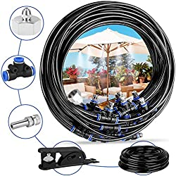 Deyard Kit d'irrigation Goutte à Patio Misting Micro Flow Drip Kit with 65.6FT(20M) Jardin Brumisation Refroidissement Système d'arrosage Distribution pour Trampoline de Serre pour Waterpark
