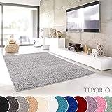 Teporio Shaggy-Teppich | Flauschiger Hochflor fürs Wohnzimmer, Schlafzimmer oder Kinderzimmer | einfarbig, schadstoffgeprüft, allergikergeeignet (Grau - 160 x 230 cm)