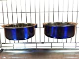 Ellie-Bo Pair of Dog Bowls for Crates/Cages or Pens, Large, 2.0 Litre, Blue