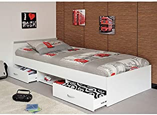 Funktionsbett Alawis 90 * 200 Cm Weiß Inkl 2 Roll Bettkästen Kinderbett  Jugendbett Jugendliege Bett
