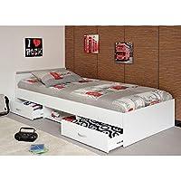 Preisvergleich für Funktionsbett Alawis 90 * 200 cm weiß inkl 2 Roll-Bettkästen Kinderbett Jugendbett Jugendliege Bett Jugendzimmer Kinderzimmer Bettliege