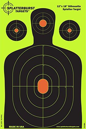 Paket von 50 - Splatterburst Ziele - 30,5 x 45,7 cm - Silhouette Ziele - Schüsse platzen hell fluoreszierend gelb beim Aufprall - Gewehr - Pistole - AirSoft - BB Gun - Luftgewehr