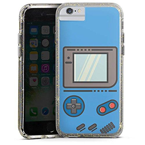 Apple iPhone X Bumper Hülle Bumper Case Glitzer Hülle Gameboy Gamer Konsole Bumper Case Glitzer gold