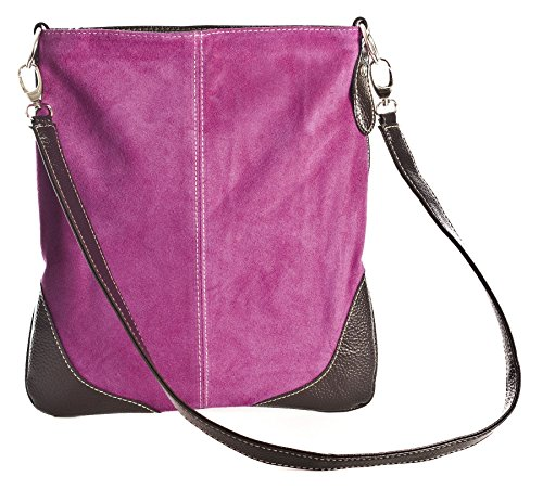 Big Handbag Shop Sac à main bandoulière en cuir et daim pour femme Bordure imitation cuir
