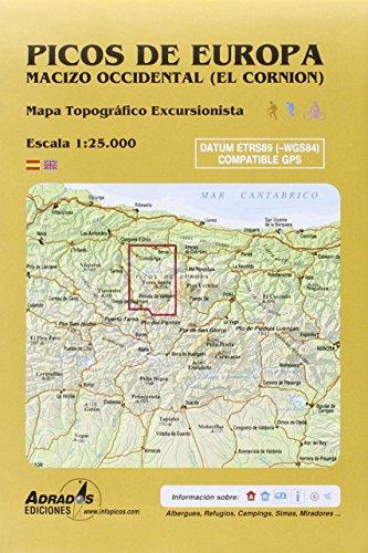 Picos de Europa. Macizo Occidental (El Cornión): Mapa topográfico excursionista. Escala 1:25000 por Miguel Ángel Adrados Polo