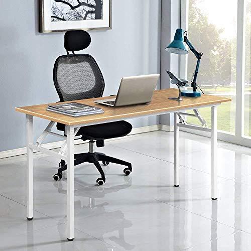 FKYUYU Multifunktions-Computertisch Mittlerer Klapptisch Keine Installation Erforderlich Verbundholzplatte Home-Office-Computertisch/Workstation,Teakandblack-100x60cm