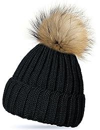 ISASSY Femme Bonnet Tricot Hiver Chaud à Gros Pompom Amovible Fixation par Bouton-Pression Pour Beanie Ski Plusieurs Couleurs Noir / Bleu Foncé / Kaki/ Vin Rouge / Gris / Crème
