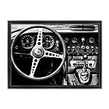 Cadre sur châssis toile canvas––Prêt à accrocher–Voiture d'époque Jaguar E-Type Roadster–Blanc et Noir Dimensione: 70x100cm C - Colore Nero Contemporaneo