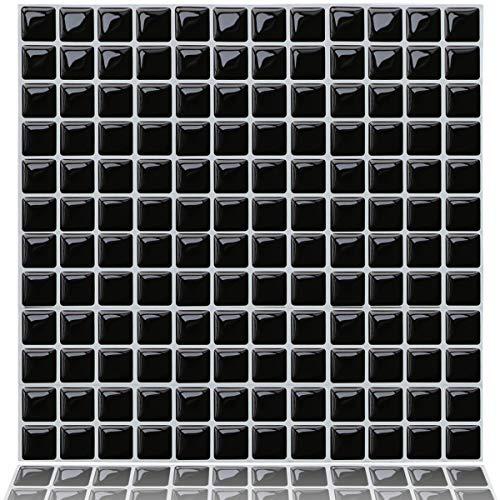 Yoillione Fliesenaufkleber Badezimmer Fliesenfolie Mosaik Fliesensticker Bad Fliesen Selbstklebend Fliesendekor, Schwarz 3D Fliesenaufkleber kKüche Fliesen Folie Wand Fliesen Aufkleber, 4er Pack