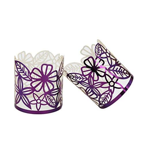 enschirm Licht Kerzenhalter Teelicht Halter Hochzeit Tischdekor - Lila, 17-19ft ()