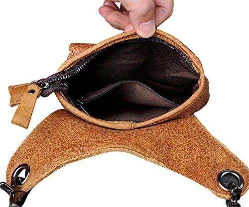 Genda 2Archer Pelle di Moda Borsa Divertente Mini Marsupio Borsa a Tracolla Hip Hop Borsa a Tracolla (17 cm* 5cm * 21 cm) (Marrone) Marrone