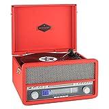 auna Belle Epoque 1907 • appareil rétro • Stéréo • Lecteur de disque • Transmission par courroie • max.78 tours • Bluetooth • Tuner radio • Récepteur FM/MW • Affichage de la bande fréquence • rouge