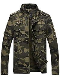 Lannister Fashion Otoño Invierno Casual Camuflaje Grueso Piloto Jacket Stand Collar Multi Bolsillo Bordado Retro Cargo