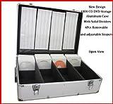 Aufbewahrungsbox für 1000 CDs/DVDs, Aluminium, mit Hüllen, silberfarben